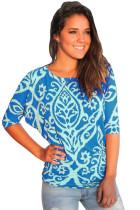 蓝色锦缎印花半袖圆领上衣