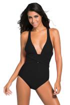 黑色背带褶皱连体泳衣