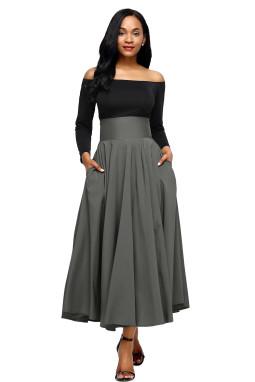 灰色高腰褶皱背拉链绑带大摆复古A字半身裙
