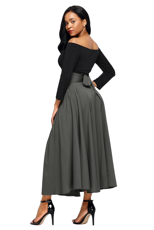 灰色高腰褶皱背拉链绑带大摆复古A字半身裙 LC65053