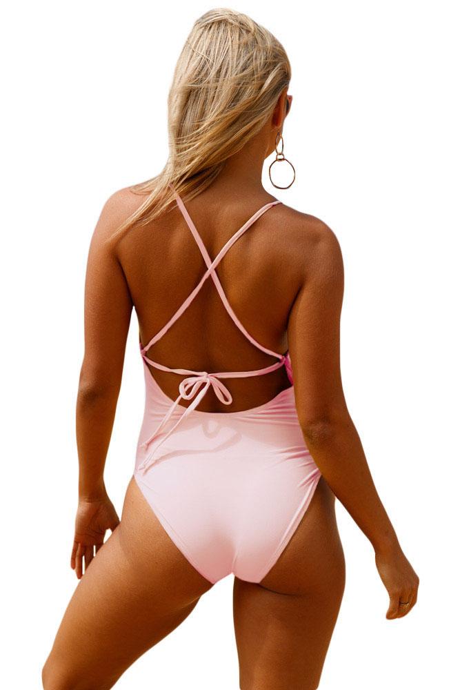 粉色钩针前面镂空细节一件式泳衣 LC410196