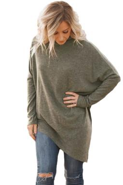 时尚针织衫长袖不规则衣摆中长款女式高领毛衣