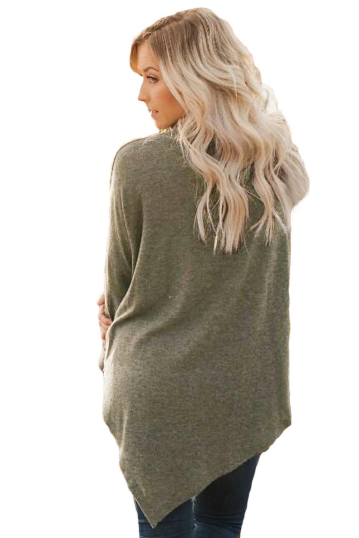 时尚针织衫长袖不规则衣摆中长款女式高领毛衣 LC250431
