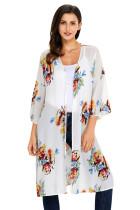 象牙白印花开衫七分袖花卉罩衫波西米亚防晒裙