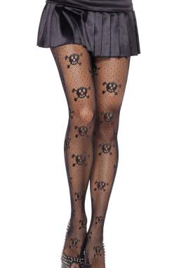 骷髅图案弹性连裤袜