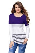 紫蓝色拼接条纹下摆后背蕾丝饰边长袖上衣