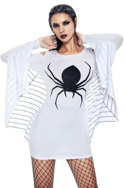 白色蜘蛛印花圆领露肩蝙蝠长袖修身大码舞台服