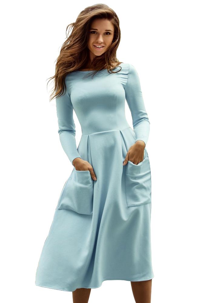 圆领长袖连衣裙_¥ 54.6 - 浅蓝色圆领长袖两边有口袋连衣裙 - 时尚女装全球一件代发