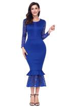 海军蓝镂空长袖蕾丝荷叶边紧身中长连衣裙