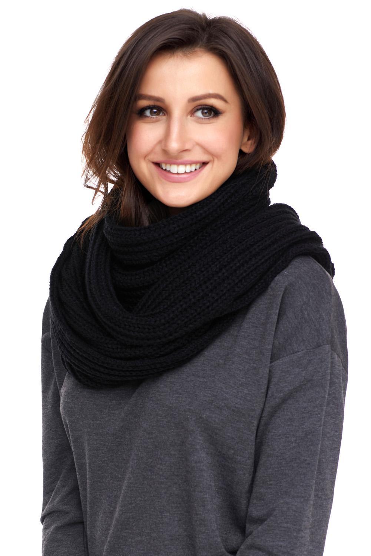 黑色柔软舒适绒球设计罗纹针织围巾 LC40562