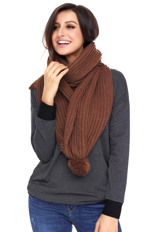 棕色柔软舒适绒球设计罗纹针织围巾 LC40562
