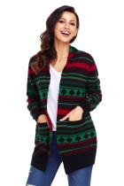 时尚几何印花针织衫长袖宽松女式圣诞节开衫