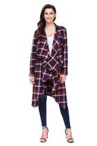红色时髦格子垂褶钩针编织蕾丝拼接长袖开襟羊毛衫