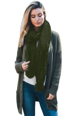 绿色柔软舒适绒球设计罗纹针织围巾