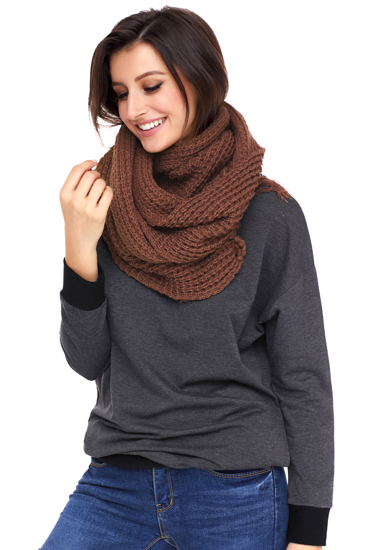 棕色舒适粗针织流苏围巾 LC40563