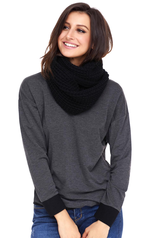 黑色舒适粗针织流苏围巾 LC40563