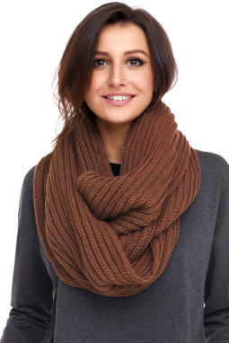 棕色柔软舒适绒球设计罗纹针织围巾