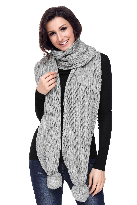 灰色柔软舒适绒球设计罗纹针织围巾 LC40562