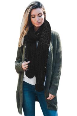 黑色柔软舒适绒球设计罗纹针织围巾