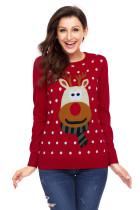 红色圣诞驯鹿印花毛衣