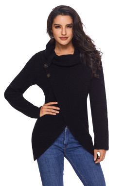 黑色时尚针织纽扣式套头长袖独特交叉设计女式毛衣