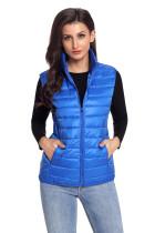 宝蓝色百搭外套高领无袖修身女式棉衣马甲