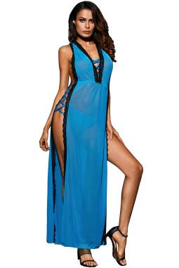 蓝色蕾丝饰边开放式侧面饰有十字交叉带情人节礼服
