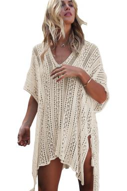 杏色钩针编织侧边绑带沙滩罩衫