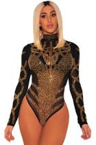 黑色网状镂空金色莱茵石装饰高领长袖修身连体衣