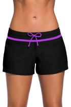 紫罗兰色饰带黑色女式宽松泳裤