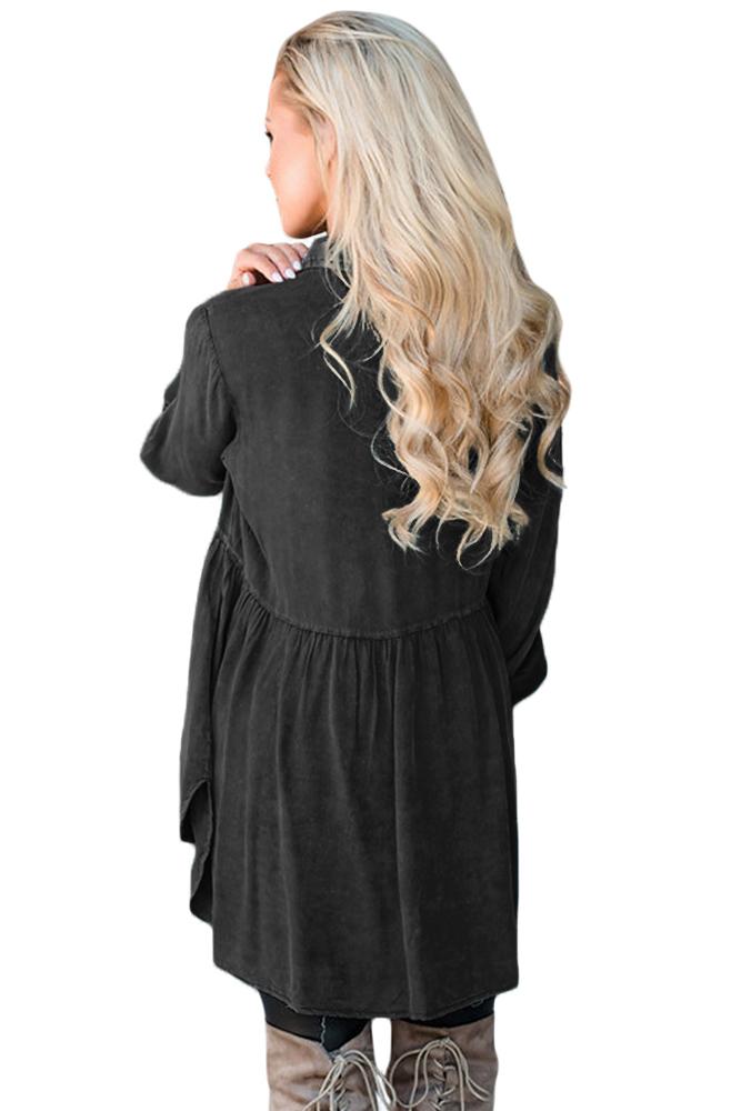 黑色V领纽扣长袖高腰不规则衣摆褶皱衬衫 LC250708