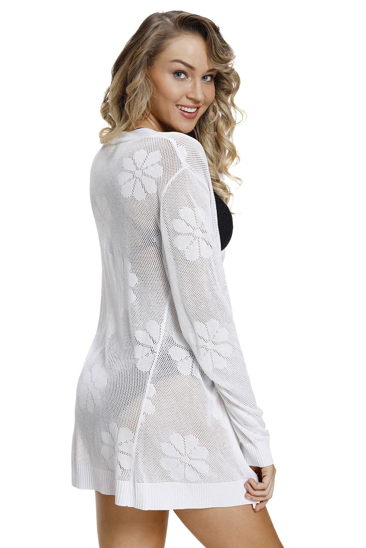 白色针织镂空图案开襟羊毛衫 LC27844
