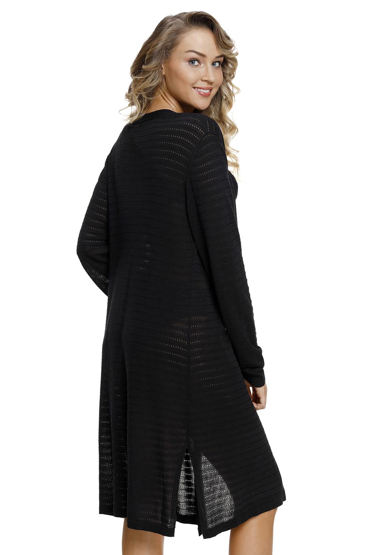 黑色轻型针织长开襟羊毛衫 LC27845