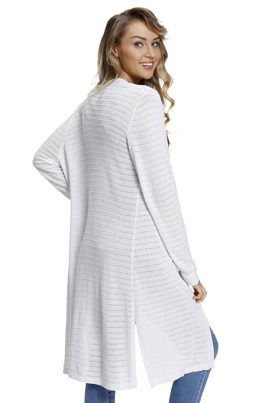 白色轻型针织开襟羊毛衫 LC27845