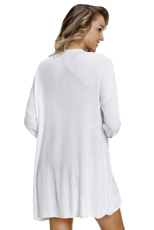 白色轻量针织开襟羊毛衫带口袋 LC27848