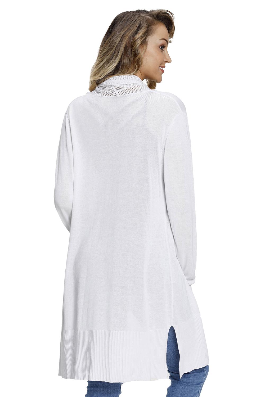 白色网格拼接长款女式开襟羊毛衫 LC27847