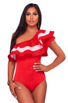 红色荷叶边单肩网状连身衣