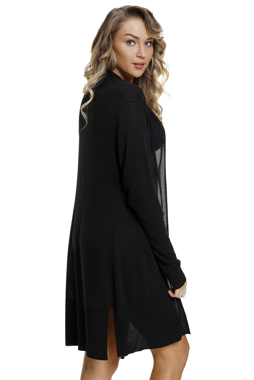 黑色网格拼接长款女式开襟羊毛衫 LC27847