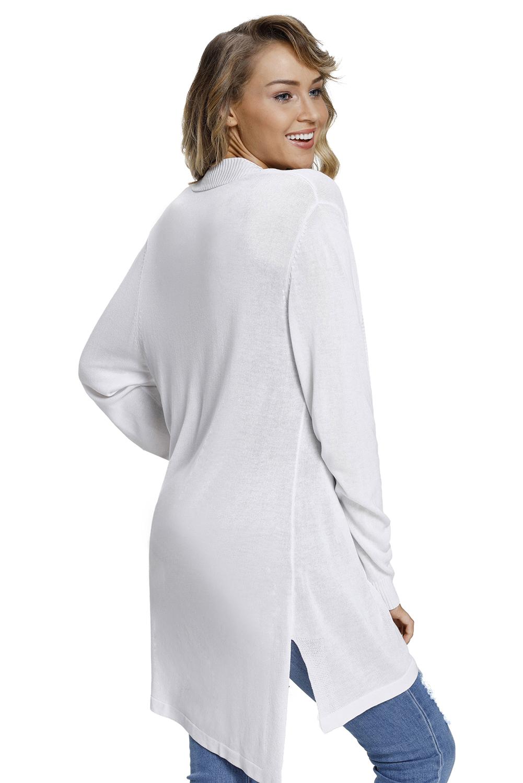 白色棱纹长袖开襟羊毛衫 LC27846