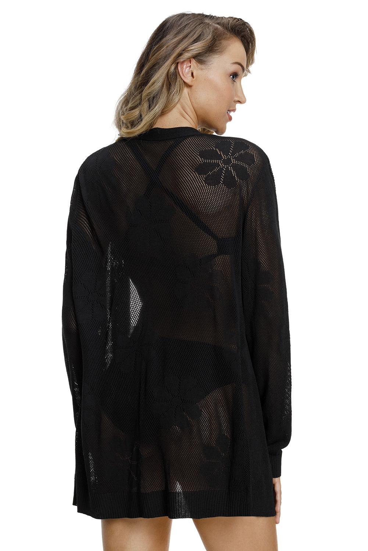 黑色针织镂空图案开襟羊毛衫 LC27844