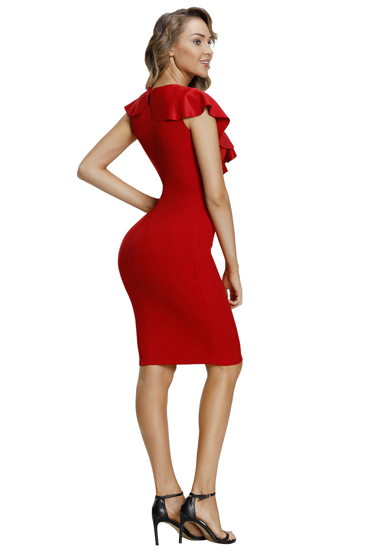 红色荷叶边性感V领短袖腰部褶皱修身包臀连衣裙 LC610010