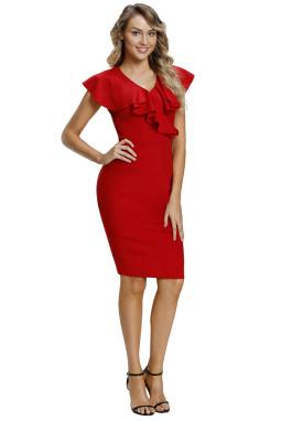 红色荷叶边性感V领短袖腰部褶皱修身包臀连衣裙