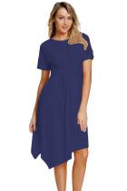 海军蓝圆领短袖高腰褶皱不规则裙摆连衣裙