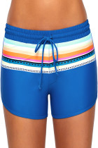 蓝色条纹印花松紧带冲浪短裤