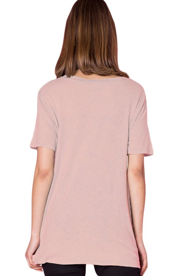 粉色美国风公牛头印花圆领短袖下摆打结设计上衣 LC251076