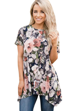 Watercolor Floral Irregular Hem Short Sleeve Blouse LC251054