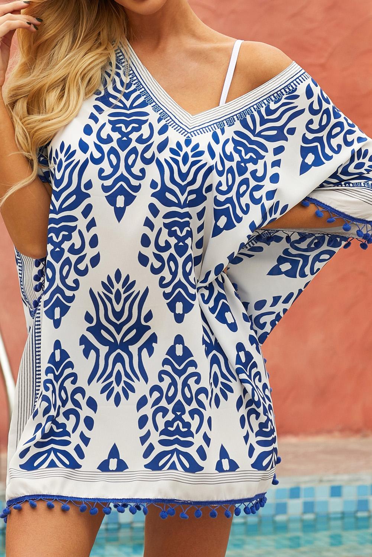蓝色印花流苏边沙滩裙 LC420206