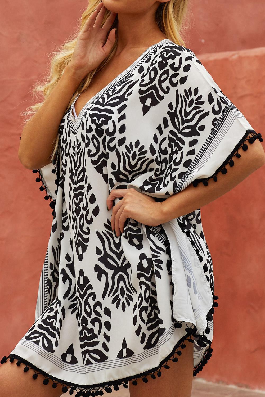 黑色印花流苏边沙滩裙 LC420206