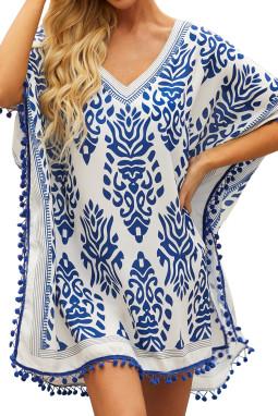 蓝色印花流苏边沙滩裙