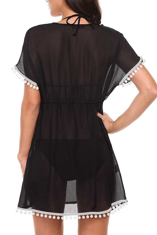 黑色深V领绒球流苏腰间抽绳设计度假沙滩裙 LC420222